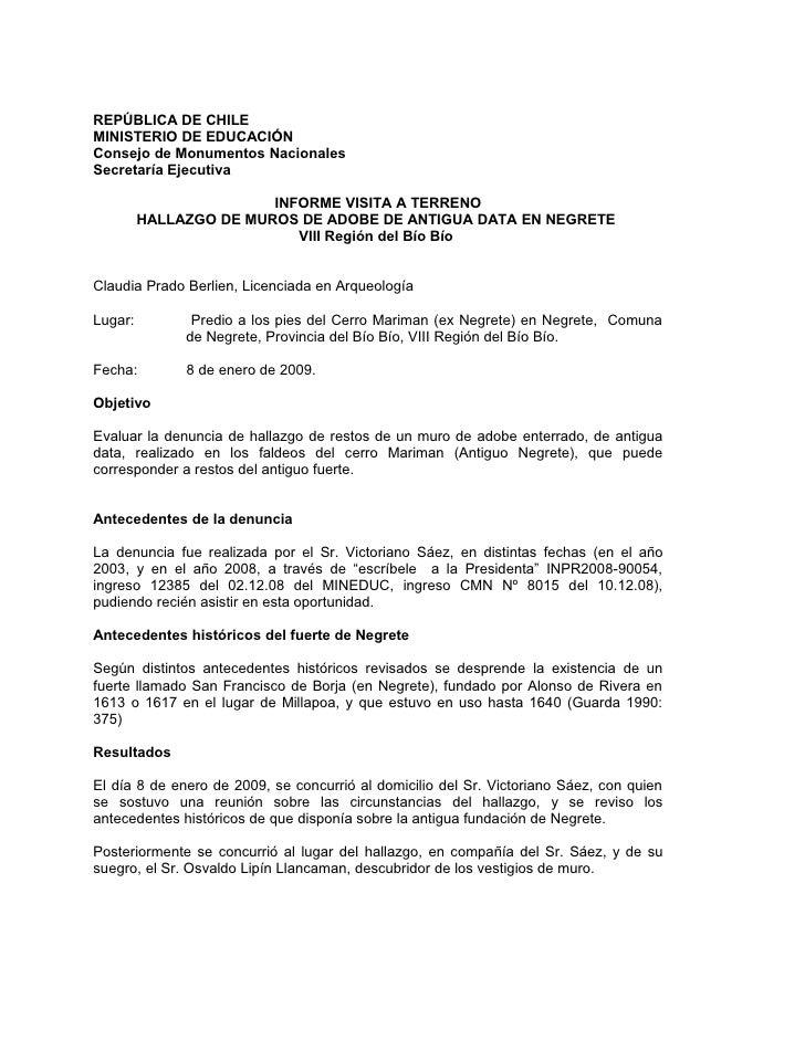 REPÚBLICA DE CHILE MINISTERIO DE EDUCACIÓN Consejo de Monumentos Nacionales Secretaría Ejecutiva                          ...