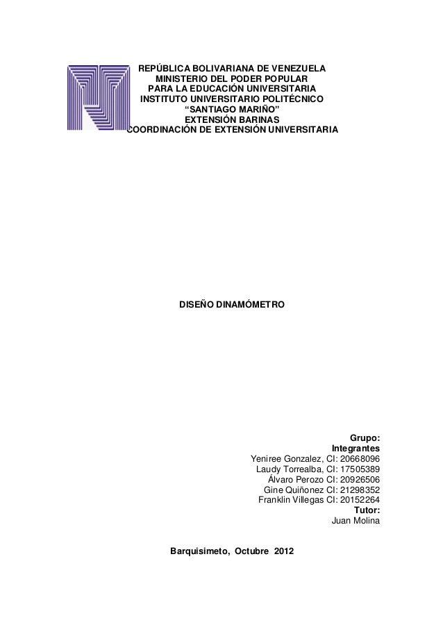 REPÚBLICA BOLIVARIANA DE VENEZUELA     MINISTERIO DEL PODER POPULAR    PARA LA EDUCACIÓN UNIVERSITARIA  INSTITUTO UNIVERSI...