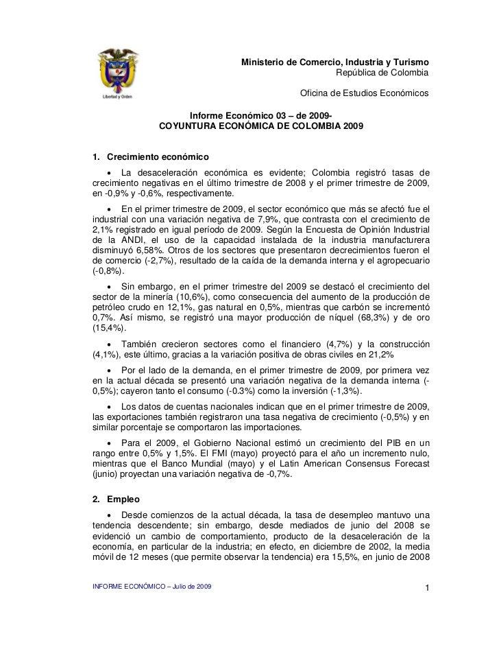 Informe Económico Junio de 2009, Colombia