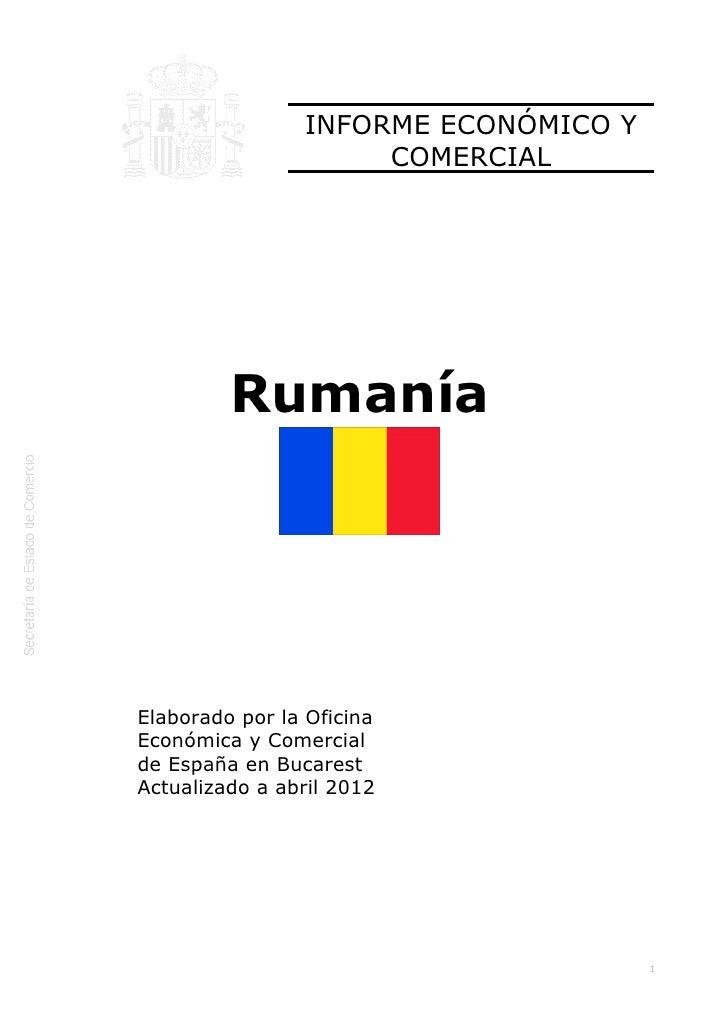 ICEX Informe económico y comercial. Rumanía 2012