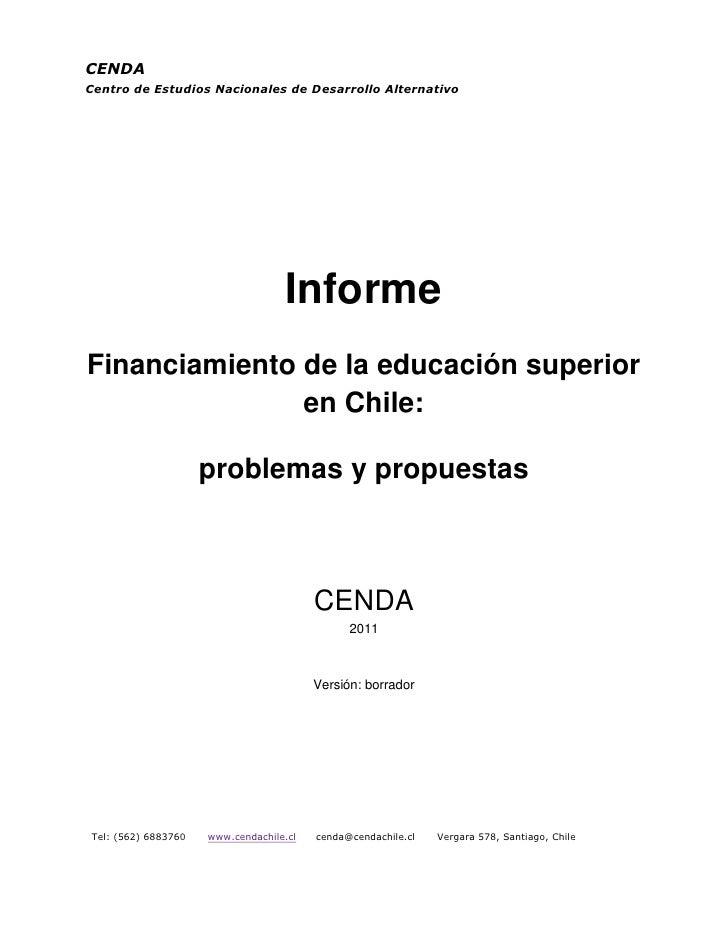 CENDACentro de Estudios Nacionales de Desarrollo Alternativo                                   InformeFinanciamiento de la...