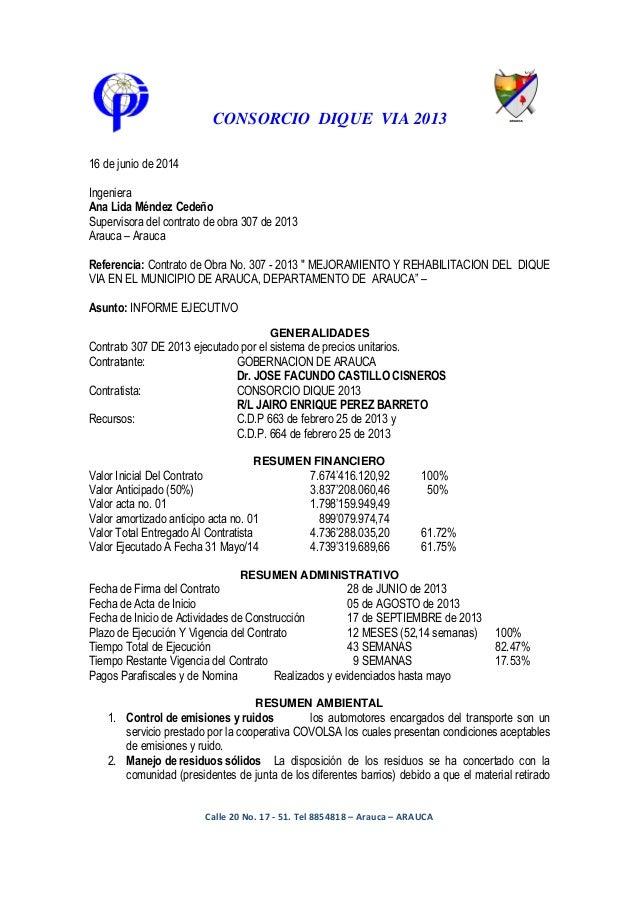 CONSORCIO DIQUE VIA 2013 GENERALIDADES RESUMEN FINANCIERO RESUMEN ADMINISTRATIVO RESUMEN AMBIENTAL