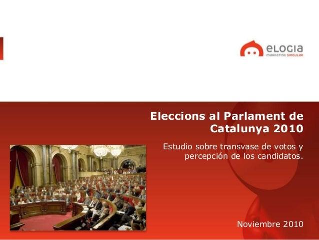 Eleccions al Parlament de Catalunya 2010 Estudio sobre transvase de votos y percepción de los candidatos. Noviembre 2010