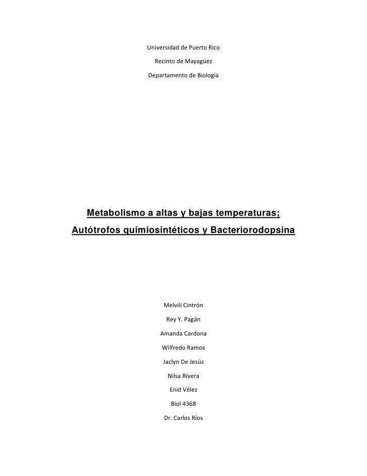 Universidad de Puerto Rico<br />Recinto de Mayagüez<br />Departamento de Biología<br />Metabolismo a altas y bajas tempera...
