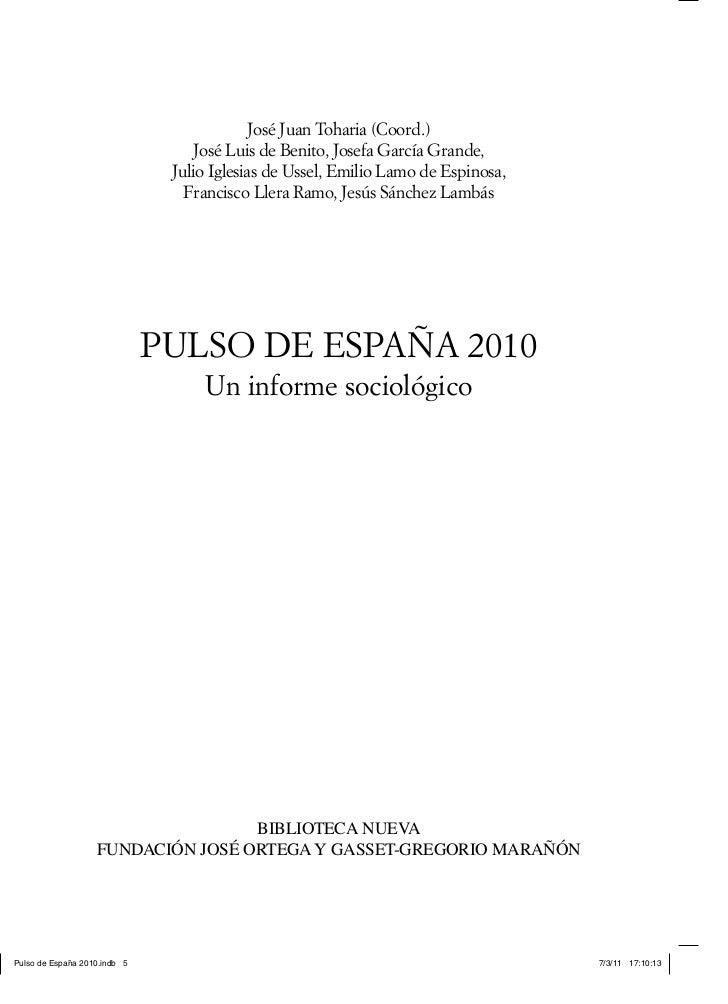 """""""Pulso de España 2010"""". Un Informe Sociológico"""