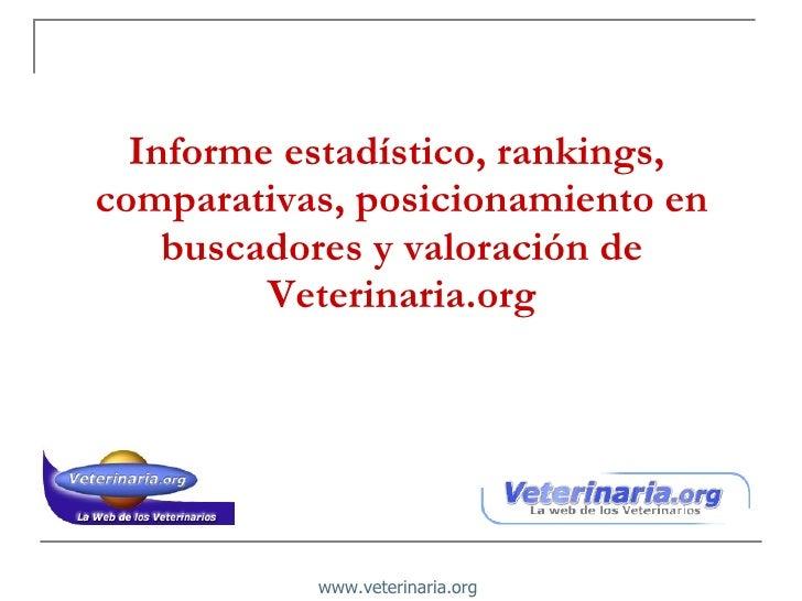 Informe estadístico, rankings,  comparativas, posicionamiento en buscadores y valoración de Veterinaria.org www.veterinari...