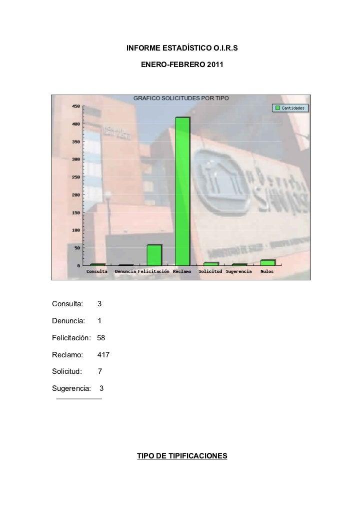 INFORME ESTADÍSTICO O.I.R.S                       ENERO-FEBRERO 2011Consulta:     3Denuncia:     1Felicitación: 58Reclamo:...