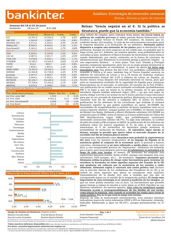 Informe estrategia de inversión semanal 18.06.2012