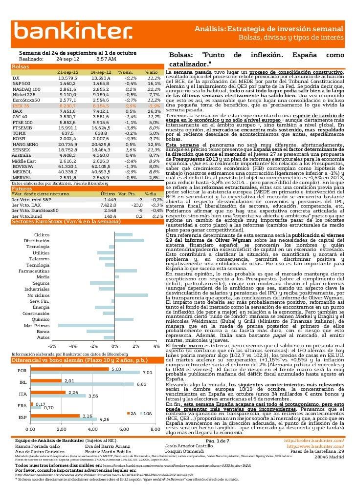 Informe estrategia de inversión semanal 24.09.2012