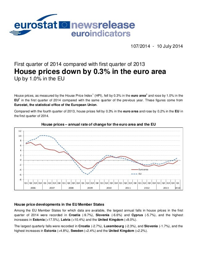 107/2014 - 10 July 2014 First quarter of 2014 compared with first quarter of 2013 House prices down by 0.3% in the euro ar...
