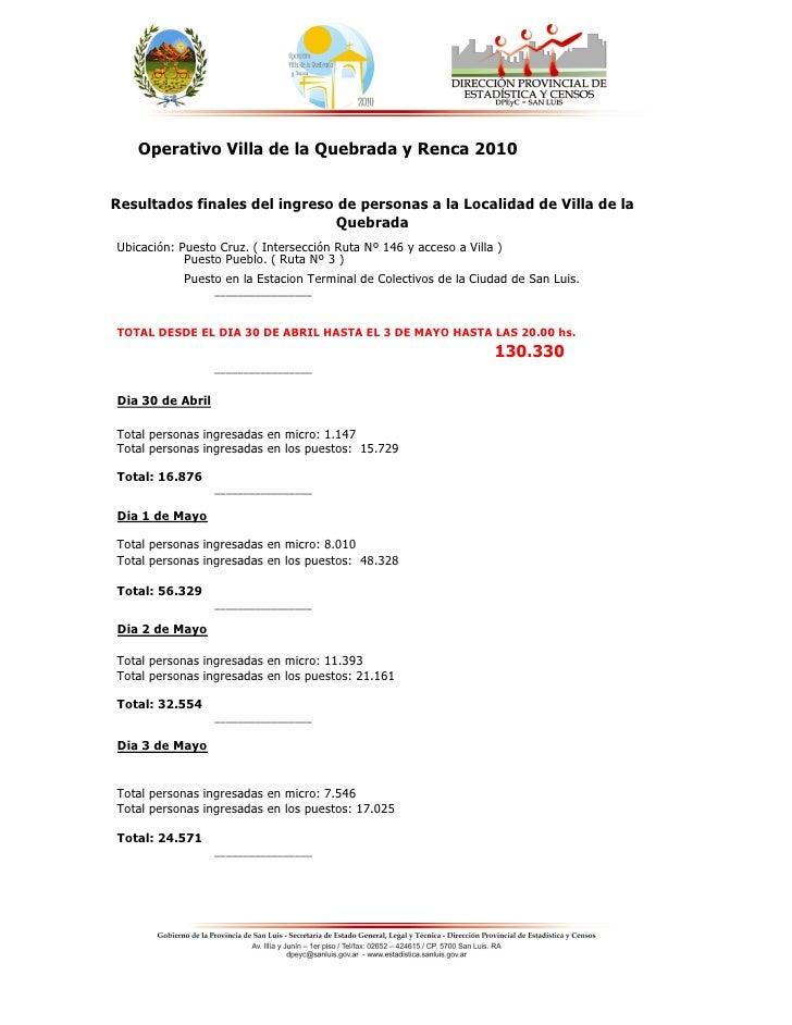 Operativo Villa de la Quebrada y Renca 2010   Resultados finales del ingreso de personas a la Localidad de Villa de la    ...