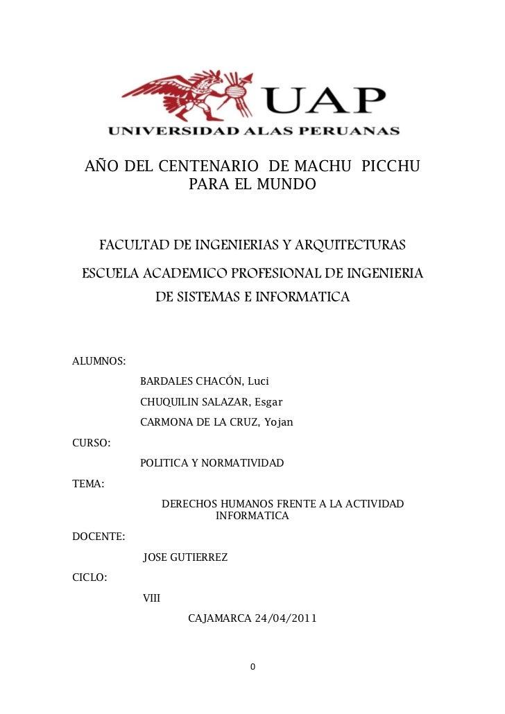 AÑO DEL CENTENARIO DE MACHU PICCHU             PARA EL MUNDO    FACULTAD DE INGENIERIAS Y ARQUITECTURAS ESCUELA ACADEMICO ...