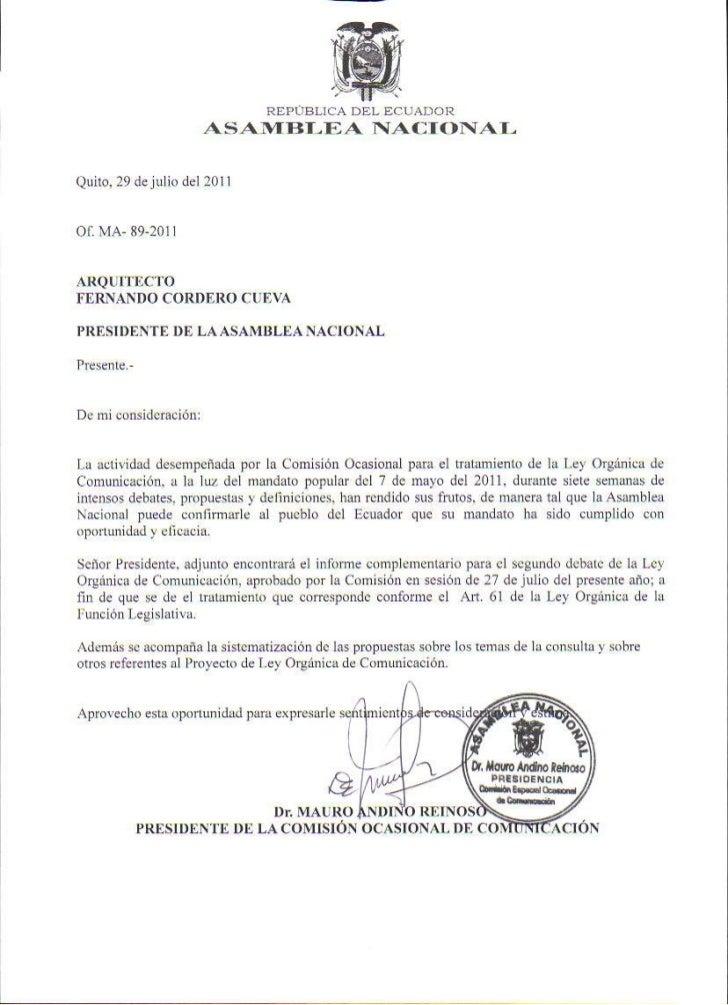 Informe Complementario para el 2do Debate del Proyecto de Ley de Comunicación