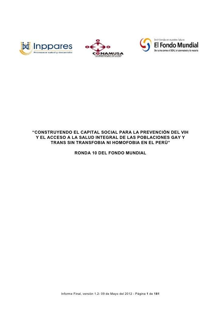 Informe Final: Censo de Organizaciones de Base Comunitaria de poblaciones gay, trans y otros hombres que tienen sexo con hombres para la Décima Ronda del Fondo Mundial