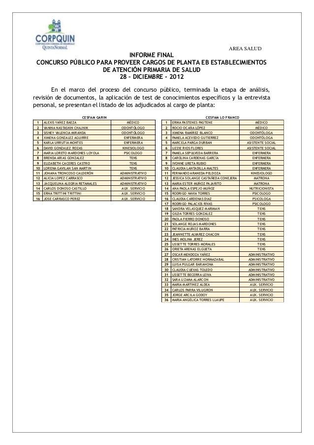 AREA SALUD                            INFORME FINAL CONCURSO PÚBLICO PARA PROVEER CARGOS DE PLANTA EB ESTABLECIMIENTOS    ...