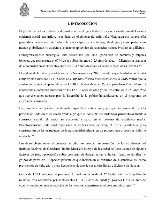 """""""Factores de Riesgo/Protección y Prevalencia del consumo de Sustancias Psicoactivas en Adolescentes de Enseñanza          ..."""