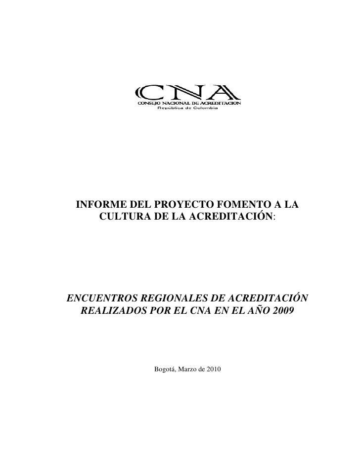 Informe final encuentros regionales cna