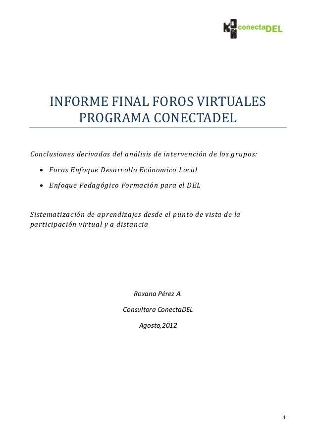 Informe final foros virtuales programa conectadel
