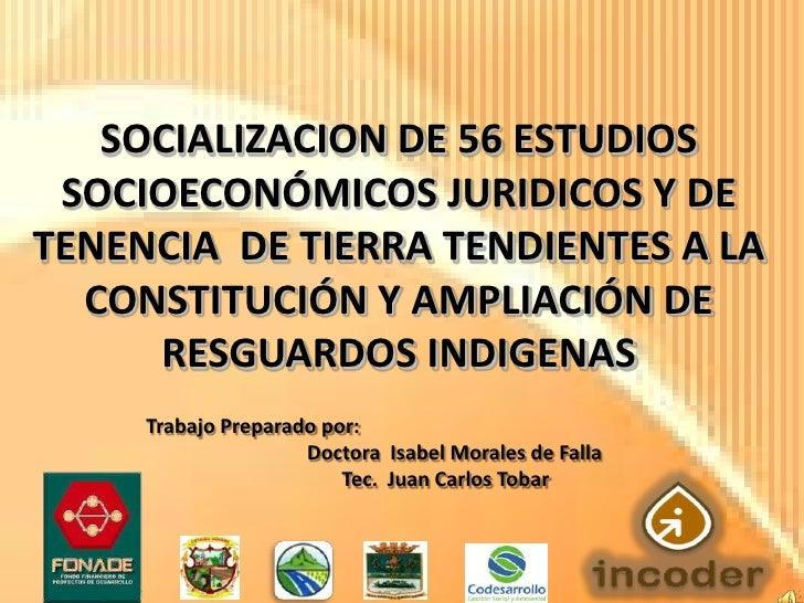 SOCIALIZACION DE 56 ESTUDIOS SOCIOECONÓMICOS JURIDICOS Y DETENENCIA DE TIERRA TENDIENTES A LA  CONSTITUCIÓN Y AMPLIACIÓN D...