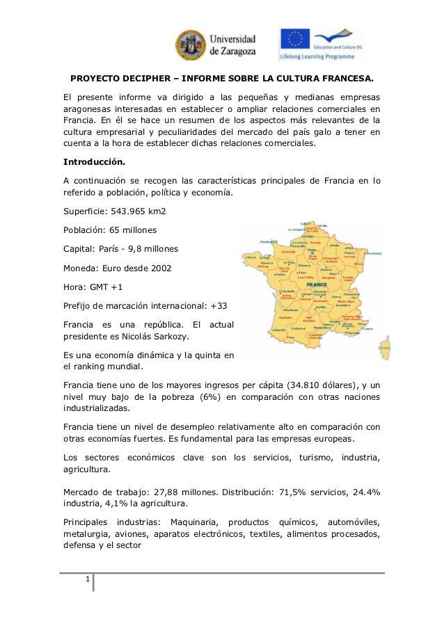 PROYECTO DECIPHER – INFORME SOBRE LA CULTURA FRANCESA.El presente informe va dirigido a las pequeñas y medianas empresasar...