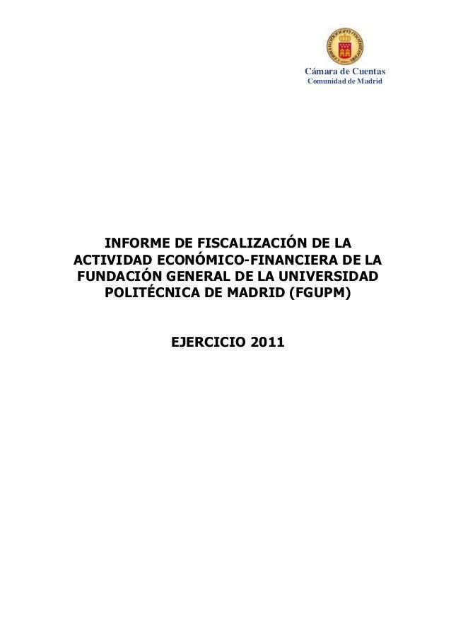 Informe fundacion Universidad Politécnica de Madrid. Cámara de Cuentas 29 Jul 2014