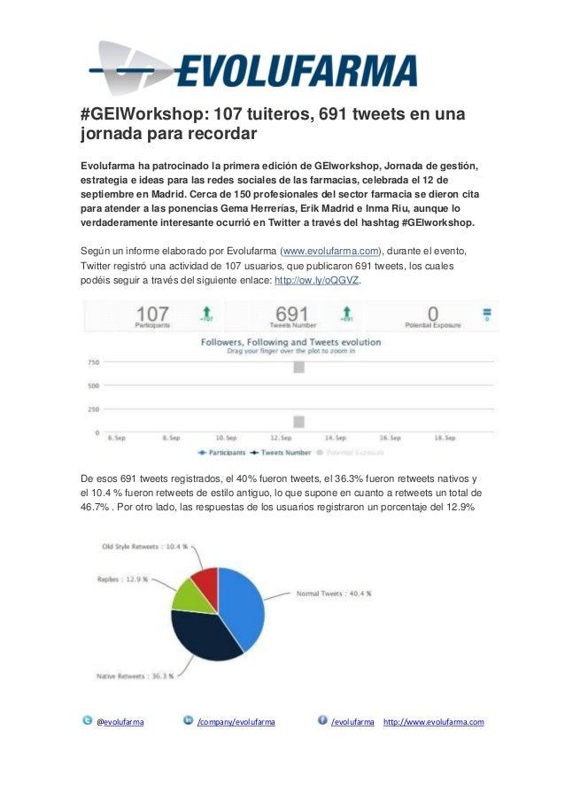 @evolufarma /company/evolufarma /evolufarma http://www.evolufarma.com #GEIWorkshop: 107 tuiteros, 691 tweets en una jornad...