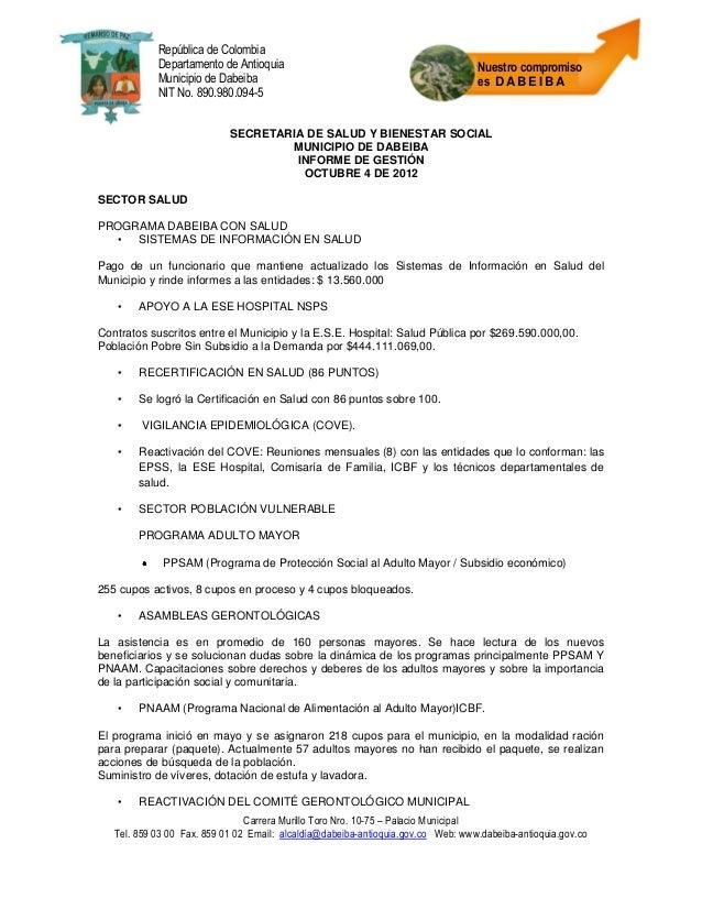 República de Colombia            Departamento de Antioquia                                             Nuestro compromiso ...