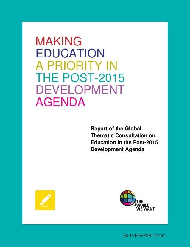 Informe haciendo prioridad a la educación en la agenda de desarrollo post 2015