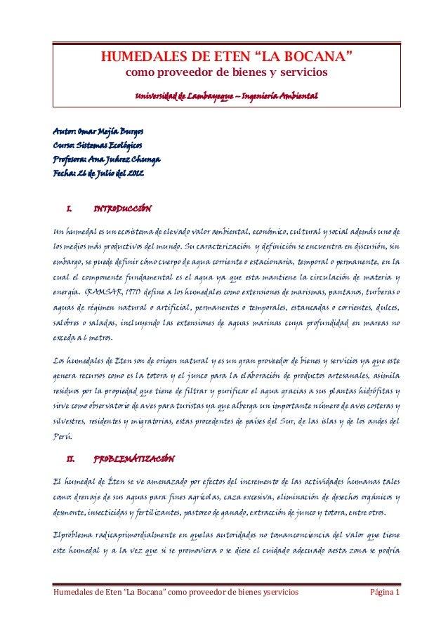 """HUMEDALES DE ETEN """"LA BOCANA"""" como proveedor de bienes y servicios Universidad de Lambayeque – Ingeniería Ambiental  Autor..."""