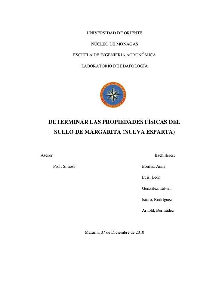 UNIVERSIDAD DE ORIENTE<br />NÚCLEO DE MONAGAS<br />ESCUELA DE INGENIERIA AGRONÓMICA<br />LABORATORIO DE EDAFOLOGÍA<br />21...
