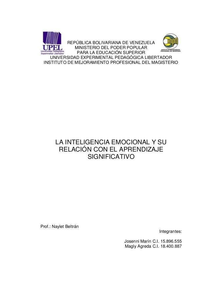 REPÚBLICA BOLIVARIANA DE VENEZUELA              MINISTERIO DEL PODER POPULAR               PARA LA EDUCACIÓN SUPERIOR    U...