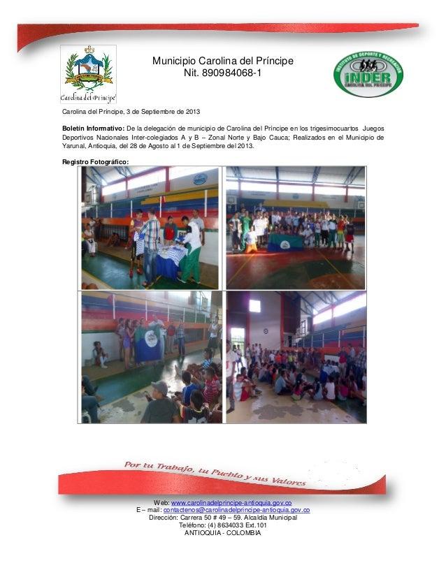 Informe juegos deportivos inter colegiados 2013 (yarumal)