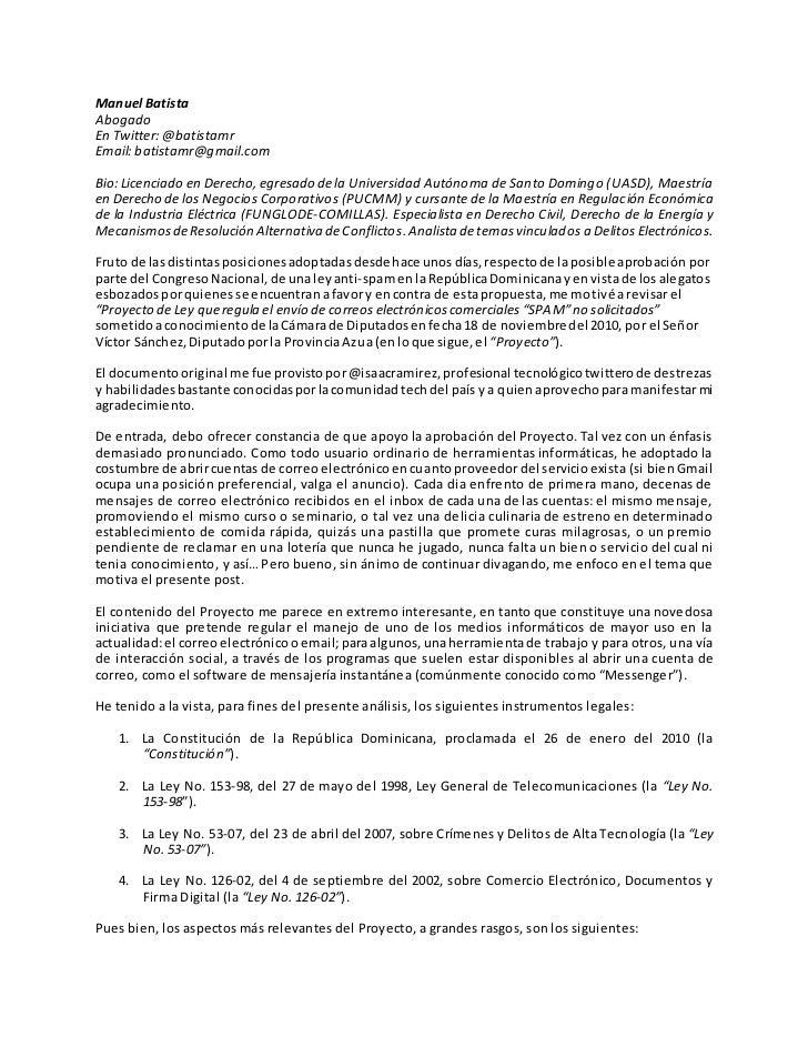 Informe Ley Anti-Spam