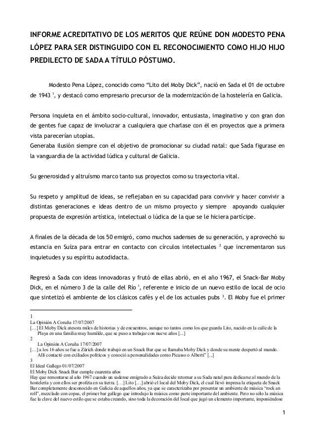INFORME ACREDITATIVO DE LOS MERITOS QUE REÚNE DON MODESTO PENA LÓPEZ PARA SER DISTINGUIDO CON EL RECONOCIMIENTO COMO HIJO ...