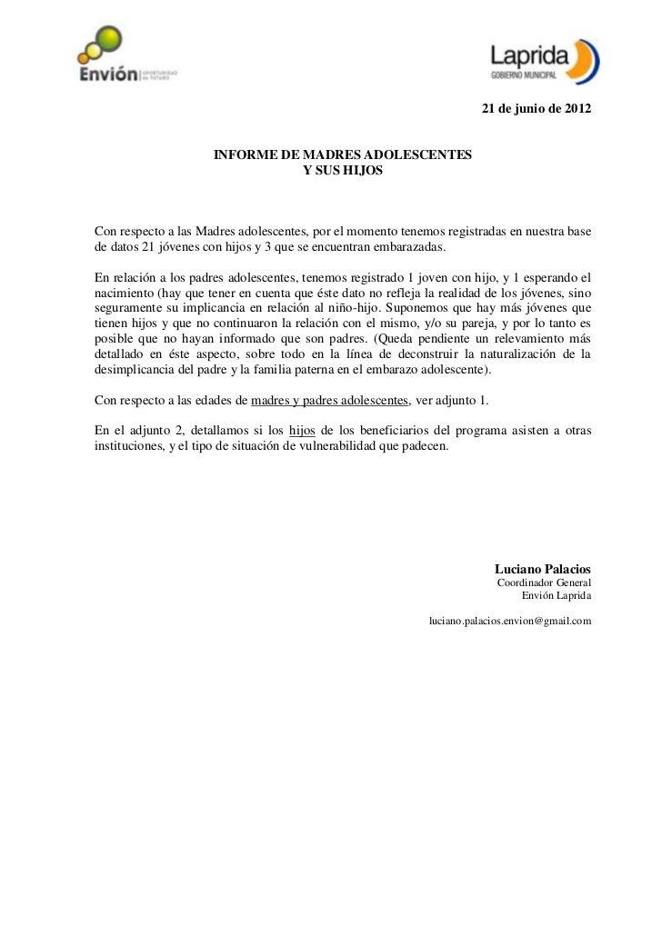21 de junio de 2012                      INFORME DE MADRES ADOLESCENTES                                 Y SUS HIJOSCon res...