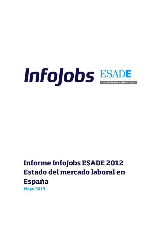 Informe InfoJobs ESADE 2012Estado del mercado laboral enEspañaMayo 2013