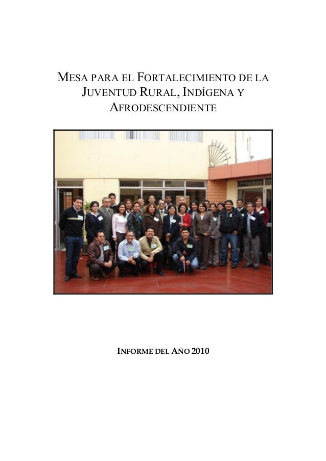 MESA PARA EL FORTALECIMIENTO DE LA JUVENTUD RURAL, INDÍGENA Y AFRODESCENDIENTE  INFORME DEL AÑO 2010