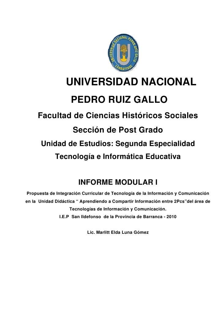 UNIVERSIDAD NACIONAL                     PEDRO RUIZ GALLO      Facultad de Ciencias Históricos Sociales                   ...