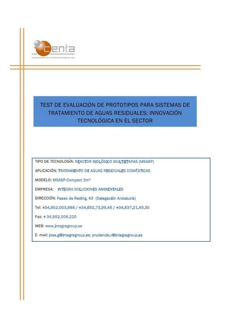 TEST DE EVALUACIÓN DE PROTOTIPOS PARA SISTEMAS DE     TRATAMIENTO DE AGUAS RESIDUALES: INNOVACIÓN              TECNOLÓGICA...