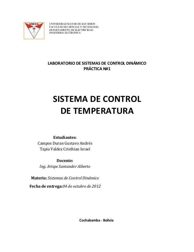 UNIVERSIDAD MAYOR DE SAN SIMON          FACULTAD DE CIENCIAS Y TECNOLOGIA          DEPARTAMENTO DE ELECTRICIDAD          I...