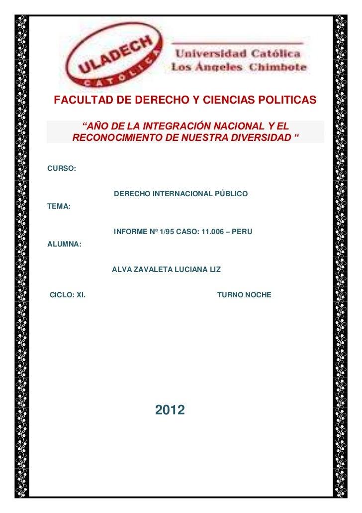 """FACULTAD DE DERECHO Y CIENCIAS POLITICAS         """"AÑO DE LA INTEGRACIÓN NACIONAL Y EL        RECONOCIMIENTO DE NUESTRA DIV..."""