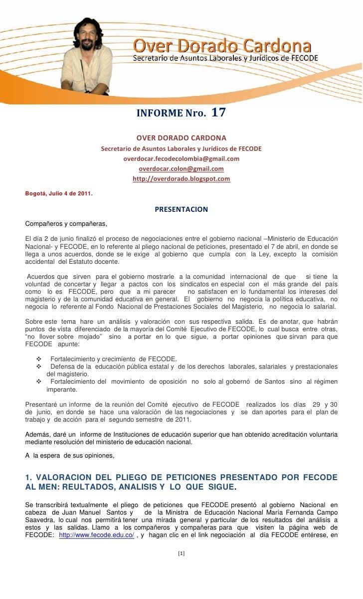 Informe Nro 17-FECODE-julio_-4_-2011-