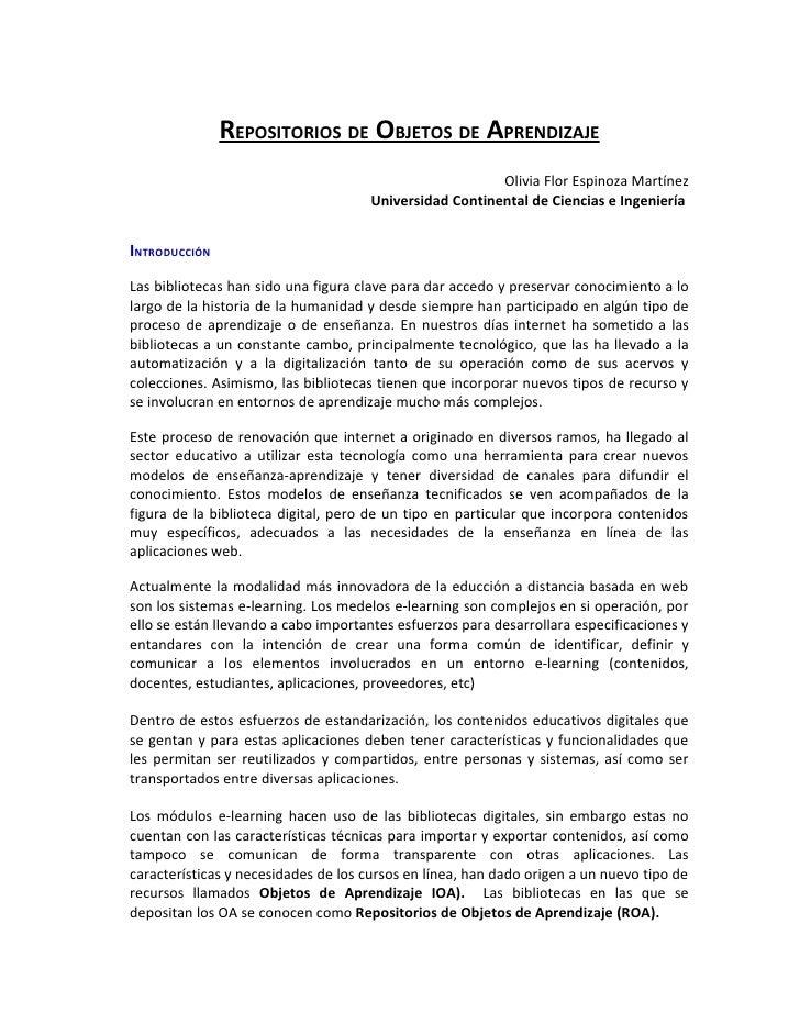 REPOSITORIOS DE OBJETOS DE APRENDIZAJE                                                         Olivia Flor Espinoza Martín...
