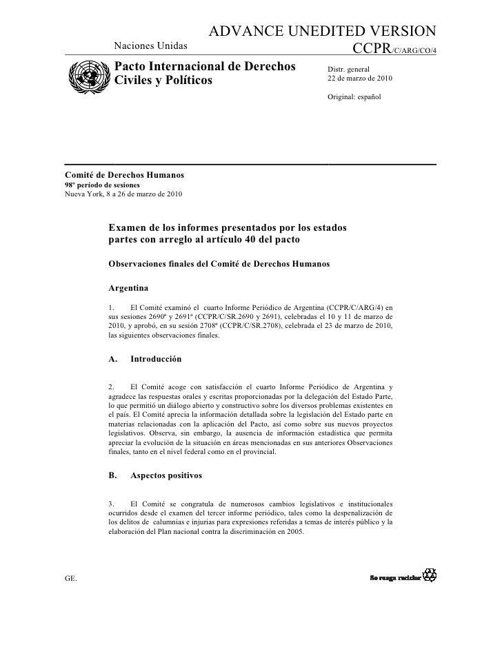 ADVANCE UNEDITED VERSION               Naciones Unidas                               CCPR/C/ARG/CO/4               Pacto I...