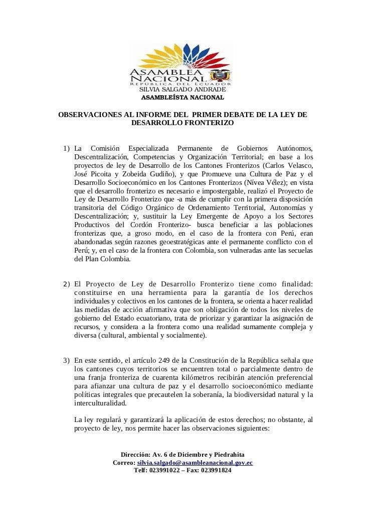 SILVIASALGADOANDRADE                            ASAMBLEÍSTANACIONALOBSERVACIONES AL INFORME DEL PRIMER DEBATE DE LA LEY...
