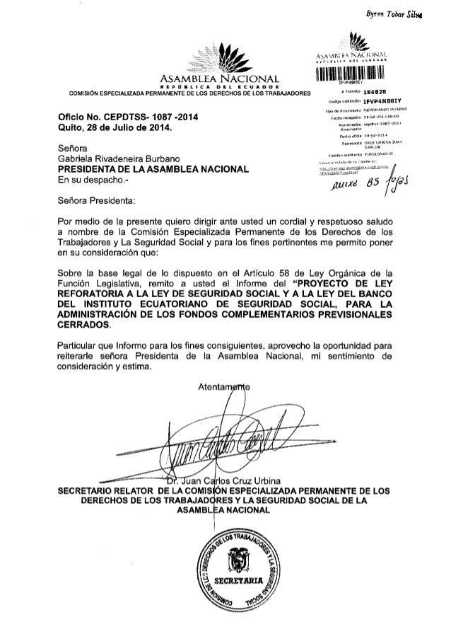 Informe para primer debate del proyecto de ley reformatoria a la ley de seguridad social y a la ley del banco del instituto ecuatoriano de seguridad social, para la administración de los fondos complementarios previsionales cerrado