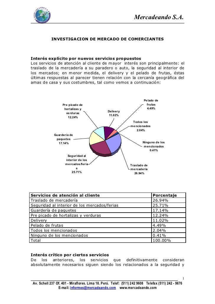 Mercadeando S.A.             INVESTIGACION DE MERCADO DE COMERCIANTESInterés explícito por nuevos servicios propuestosLos ...