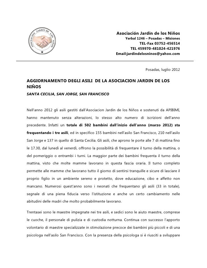 Relazione Attività Posadas - Argentina 2012
