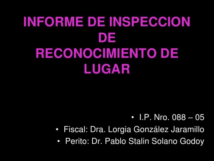 INFORME DE INSPECCION          DE   RECONOCIMIENTO DE        LUGAR                            • I.P. Nro. 088 – 05     • F...