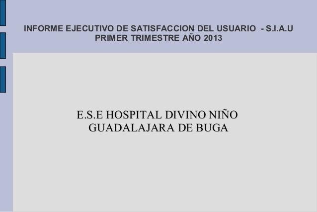 INFORME EJECUTIVO DE SATISFACCION DEL USUARIO - S.I.A.UPRIMER TRIMESTRE AÑO 2013E.S.E HOSPITAL DIVINO NIÑOE.S.E HOSPITAL D...